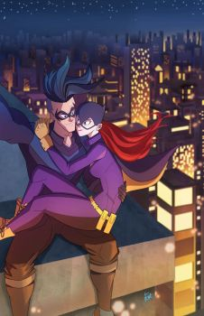 nightwing and babs selfie by E-m2