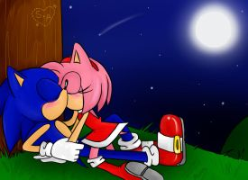 SonAmy: a kiss under the moonlight by DanielasDoodles