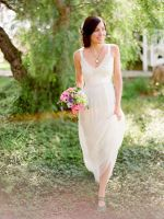 Lace V-neck Sheath Sleeveless Simple Summer Weddin by foxgowns