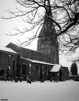 Warboys church in snow by eevee-lily