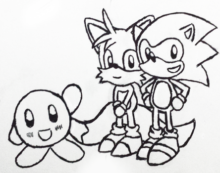 Sonic, Tails and Kirby by JamminJams