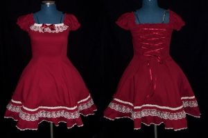 Burgundy Lolita Dress by kawaiimon