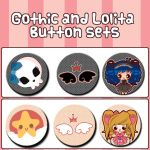 Gothic and Lolita Button sets by Minty-Kitty-Art