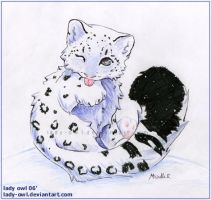 Chibi: Snow Leopard Commission by Lady-Owl