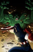 Hulk and the Cap SMACKDOWN by wordmongerer