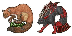 Caina and Fischer Badges by KatieHofgard