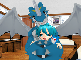 Little Miku is not afraid of ExVeemon by JackFrost-LCDA