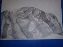 ART EXAM - EGGS IN A BOWL ON TABLECLOTH by OliviaWhyteART