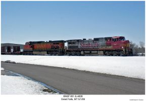 BNSF 651 and 4626 in the snow by hunter1828