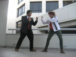 Adachi and Yosuke Face Off by lawlietcookies