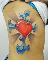 heart cross tattoo by joshing88