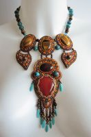 Bead embroidery necklace 21 by Priscillascreations