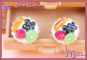 Fruit Tart Stud Earrings by Jeyam-PClay