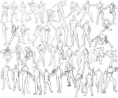 44 Male Poses by xFalkenx