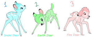 Pastel Deer Adopts by GothicRockerGirl