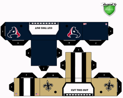 texans saints helmets by 1madhatter