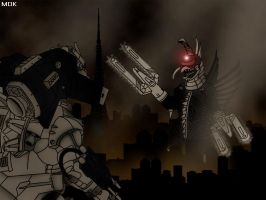 Mechagodzilla vs. Gigan by Mecha-Potato-Alex