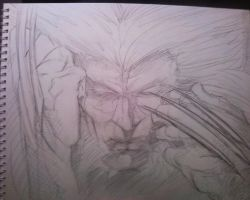 5 min sketch Weapon X by papabear7