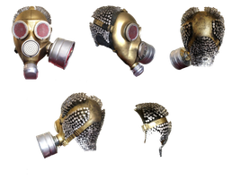 Golden GAS MASK by mysticmorning