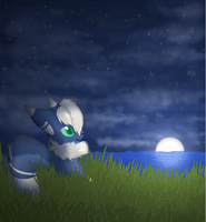 Meowstic at Moonset by Ryoxi