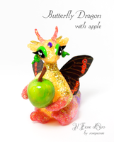Butterfly Dragon with apple 3 by rosepeonie
