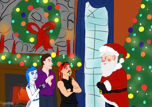 Ashley, Michael, and Steve meet santa by giraffesonparades