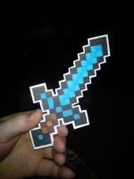 Paper Minecraft Diamond Sword by Fallnangel7