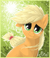 Applejack pixel portrait by gonedreamer
