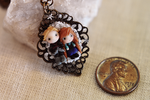 Frozen Anna and Kristoff Pendant by wibblequibble