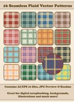 16 Seamless Plaid Vector Patterns by ChewedKandi