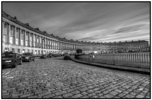 The Royal Crescent Bath black and white by nicholls34