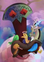 Discord On His Throne by ButtercupSaiyan by InsaneSpyro