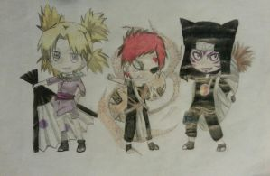 Temari, Gaara, and Kankuro by sydgirl97