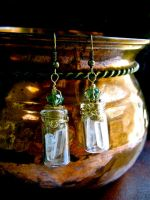 Magical Faery Stones- bottle earrings by EireCrescent