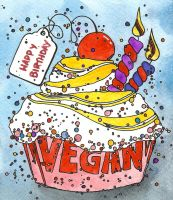 Vegan Birthday Cupcake by DeftLeftHand