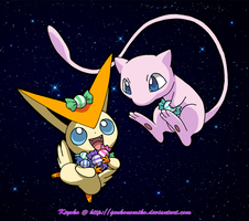 Victini and Mew by GenkoNoMiko
