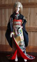 BJD kimono, Black Formal Furisode with Sensu 3 by InarisansCrafts