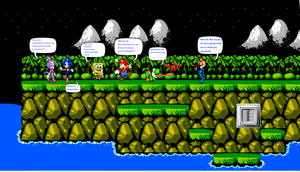 Mario Sonic Sponge Blaze Yoshi in Contra World by DarkraDx