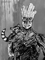 GROOT AND ROCKET by DoeFeetArt