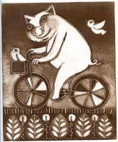 cycling pig by usartdude