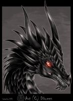 Black Dragon - head - by DrakainaQueen