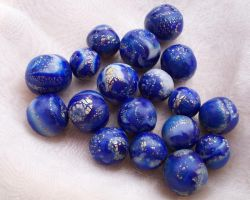 Polymer Clay Lapislazuli Beads by ValerianaSolaris