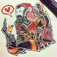 Crossover [TF2 x Mass Effect]: Quarian!Pyro by Mossygator