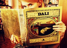 girl with a golden book by truehollyblue