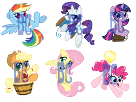 Mane 6 Shrinkies by BaldDumboRat