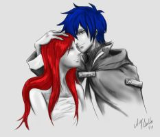 Erza and Jellal sketch - Fairy Tail by SunHee2244