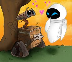 Wall-E and Eve By:vivzmind by w-e-love-wall-e