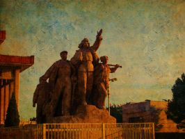 Chairman Mao Memorial Hall in front of huge relief by 841376252