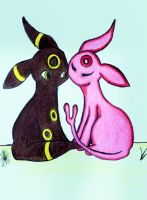 Umbreon and Espeon by Psych3d3lics