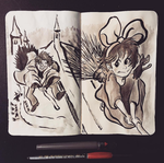 Inktober 08-09: Kids and Their Broomsticks by adrawer4ever